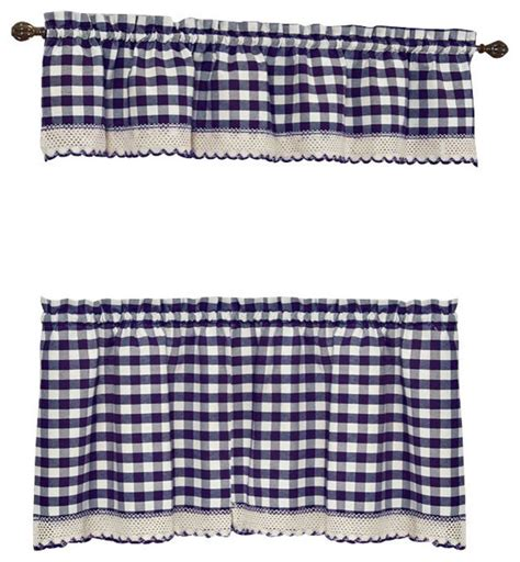 blue buffalo check curtains buffalo check navy blue kitchen curtain curtains by