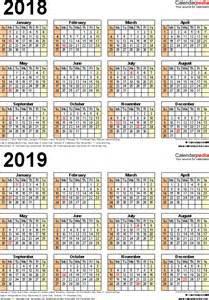 Calendar 2018 And 2019 Printable 2018 2019 Calendar Free Printable Two Year Word Calendars