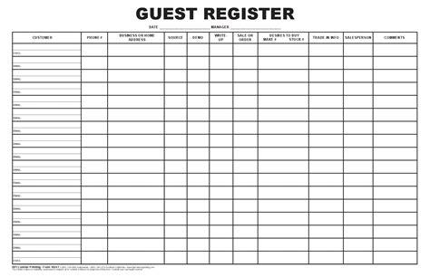 Guest Register Log Bpi Dealer Supplies Deal Registration Template