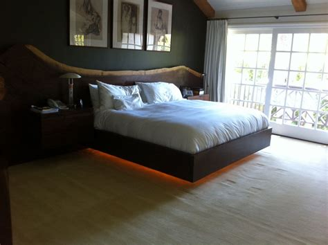 bed with led lights live edge walnut platform bed with led lighting and