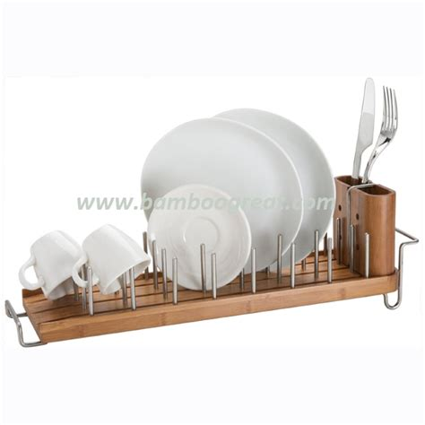 Vertical Dish Rack by Bamboo Dish Drying Rack With Vertical Stainless Steel Pegs