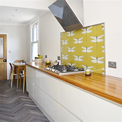 wallpaper backsplash for kitchen creative information diy splashback using wallpaper pillar box blue