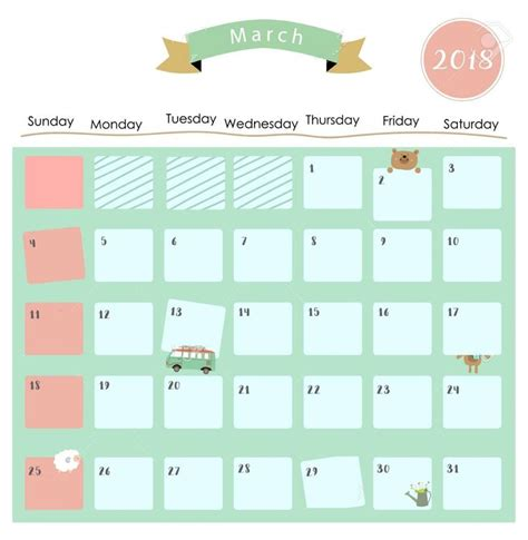 cute march  calendar calendar  calendar template march