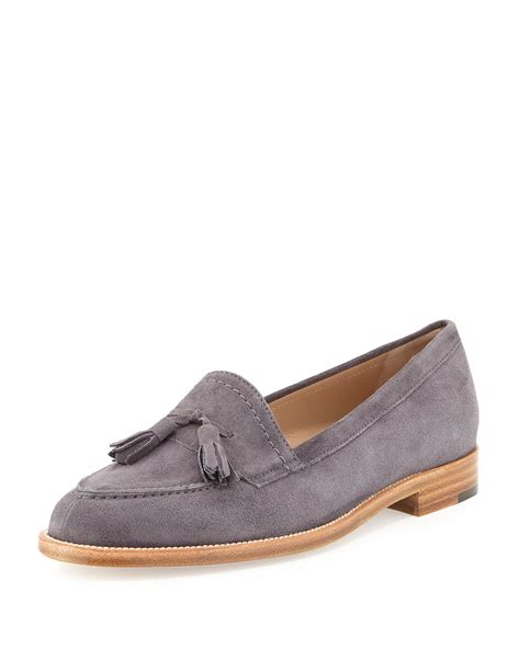 grey suede loafers manolo blahnik aldena tassel suede loafer in gray lyst