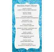 Frozen Birthday Party Menu Invitations Ideas