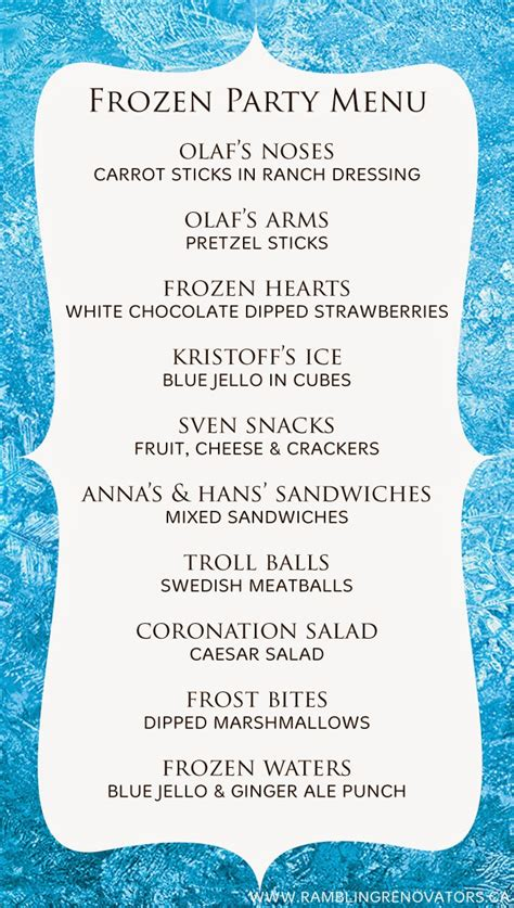 dinner menu themes frozen birthday menu invitations ideas