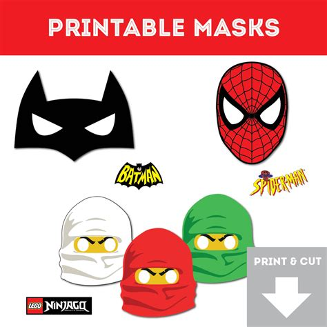 lego mask printable template superhero printable masks spiderman ninjago batman easy to