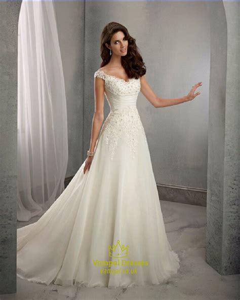 Sleeve V Neck A Line Dress cap sleeve v neck ruched waist a line wedding