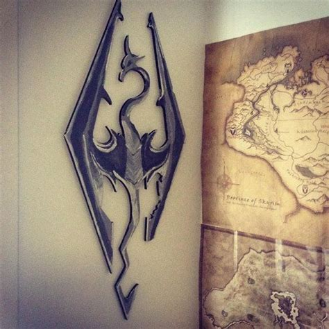 skyrim home decor medium skyrim logo wall hanging by customgeekeryau on etsy