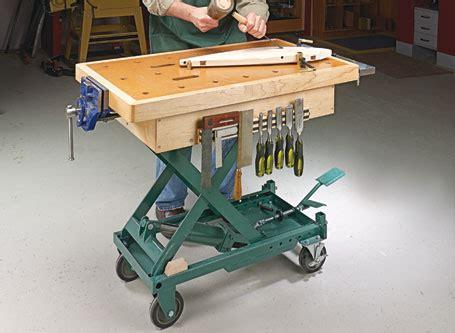 wood scissor lift table plans scissor lift workbench woodsmith plans