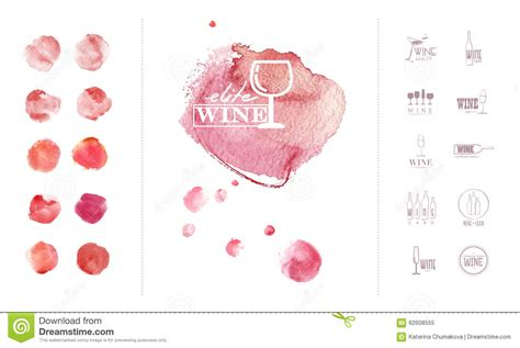Wine Logo Template With Collection Of Hand Drawn Watercolor Colorful Backdrops Stock Watercolor Logo Template
