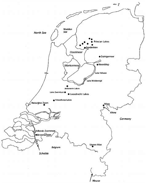 netherlands lakes map an outline map of the netherlands showing the location of