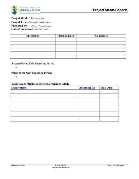 sap project status report template project status report template v2 0