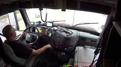 automatic volvo semi truck volvo 670 inside cab shifting driving semi truck