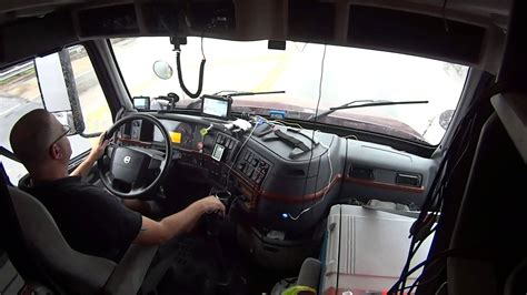 volvo 760 semi truck volvo 670 inside cab shifting driving semi truck