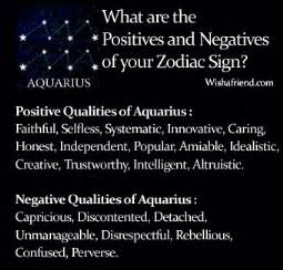 find positives and negatives of your zodiac sign aquarius