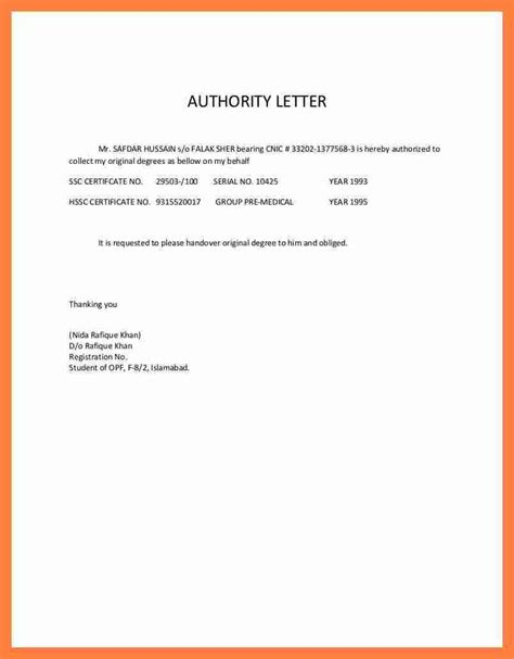 Letter Exles 4 Authorization Letter Sle To Receive Documents Insurance Letter