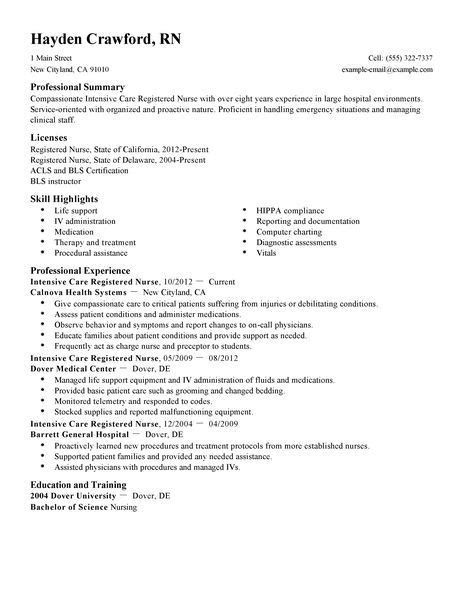Resume Sle For Nursing Care Insurance Companies Nursing Resume Sales Nursing Lewesmr