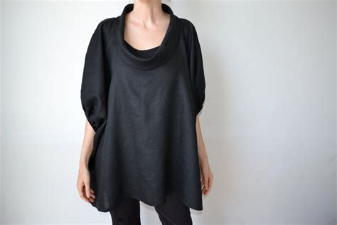 black linen top linen tunic plus size clothing plus size