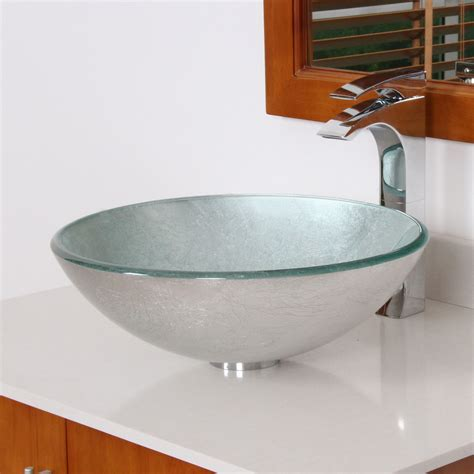 Bathroom Bowl Sink Elite 1308 Modern Tempered Glass Bathroom Vessel Sink With Silver Wrinkles Patte Bathroom Sinks