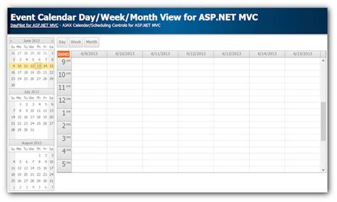 tutorial vb net mvc event calendar with day week month views for asp net mvc
