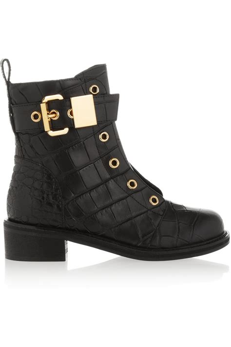 giuseppe zanotti croc effect leather ankle boots in black