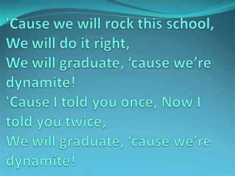 printable lyrics dynamite dynamite kindergarten graduation youtube