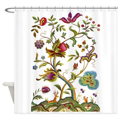 Tree Of Shower Curtain by Tree Of Jacobean Embroidery Shower Curtain By