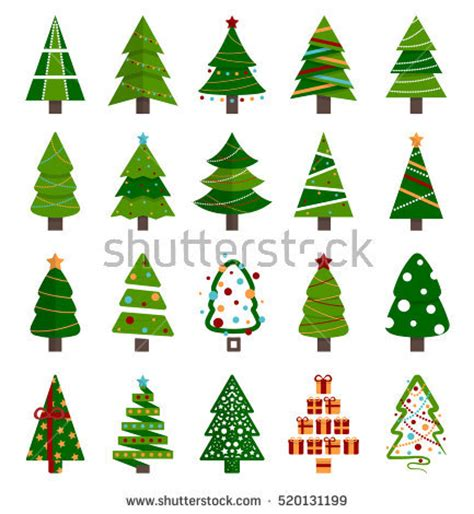 different christmas tree set vector illustration stock