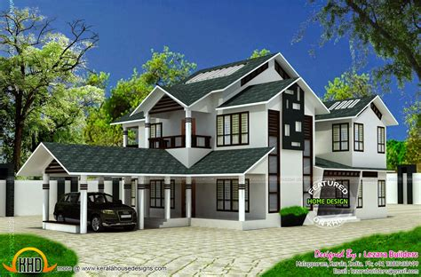 kerala sloped roof home design modern sloping roof house kerala home design floor plans