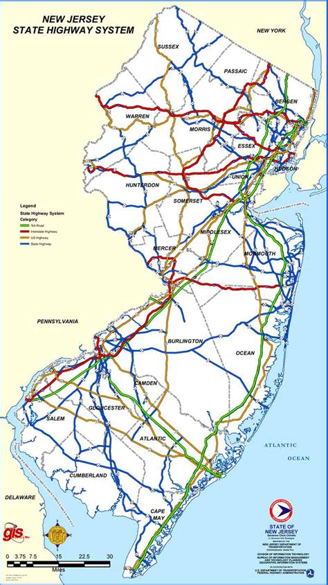 road map of new jersey gardenstateparkway