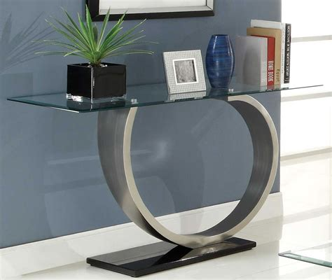 Contemporary sofa table, modern glass top sofa table tree