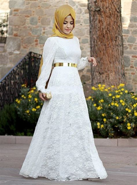 Gamis White new muslim bridals dresses with for weddings 2016