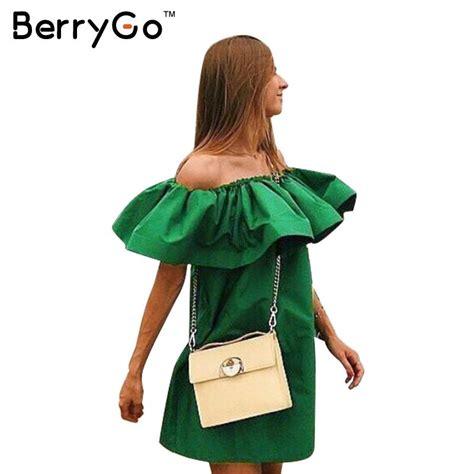 Bj 1948 Casual Blouse Dress berrygo summer dress shoulder casual dresses ruffles slash neck cotton