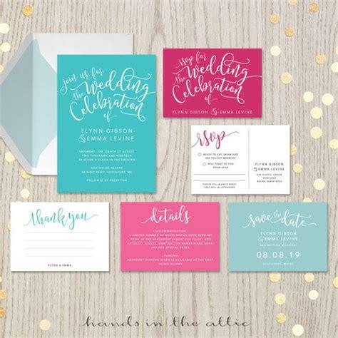 Turquoise And Fuschia Wedding Invitations