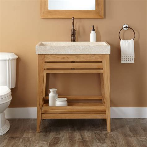teak vanity bathroom 30 quot aurelia teak trough sink vanity natural teak bathroom