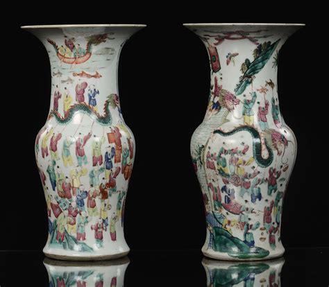 vasi di porcellana coppia di vasi a tromba in porcellana famiglia rosa con