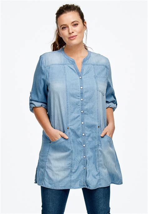 Blouse Jesica Tunic Tunik snap front denim tunic by ellos 174 plus size shirts blouses