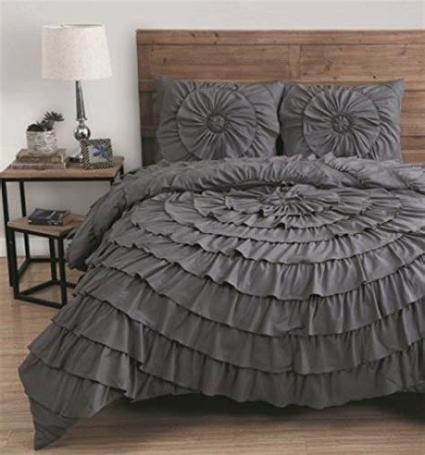 elegant 3 piece king size comforter set ruffle bedding bed