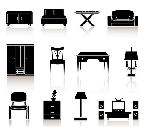 Simple Interior Design For Kitchen black n white icons furniture free vector 4vector