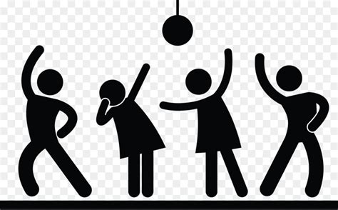 stick figure nightclub dance party night party png    transparent png