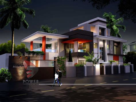 3d architecture rendering ultra modern home de 6077