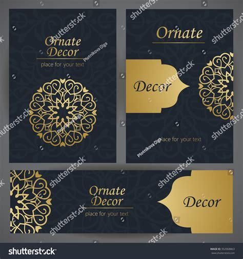 privilege card template golden decor template frame greeting card stock vector
