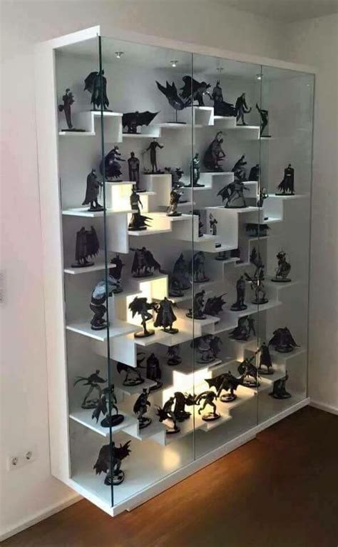 Great way to display figures   Use wall shelves from ikea