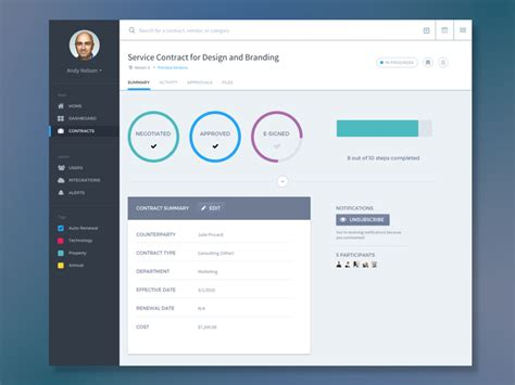 dashboard web app product ui design contract management