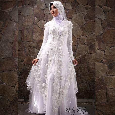 Gaun Kebaya Brocade Islamic | gaun pengantin muslimah kebaya modern brocade putih