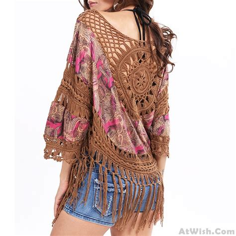 indian style outer blouse tassel knitting large size tops s tops s clothing