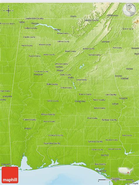 physical map of alabama physical 3d map of alabama