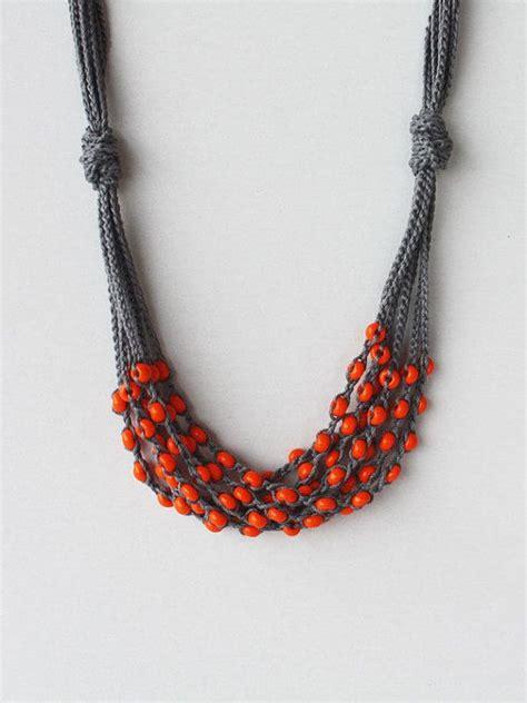 crochet beaded necklace multi strand orange gray necklace crochet beaded jewelry