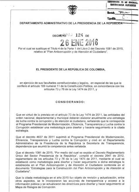 decreto ntjnircy de 2016 26 fecodeeduco decreto 124 de enero 26 de 2016 unidad para las v 237 ctimas
